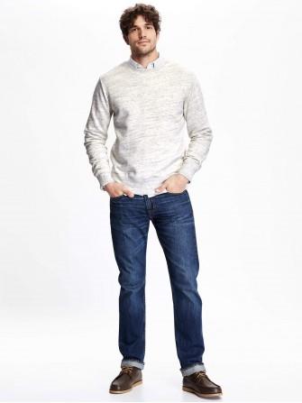 Suéter de lã gola redonda