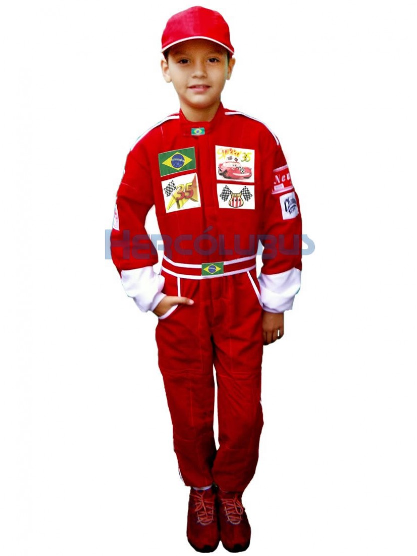 Macacão Infantil de Piloto F1 e McQueen + Boné popup